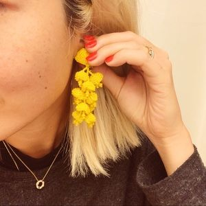 Sachin & Babi yellow beaded earrings